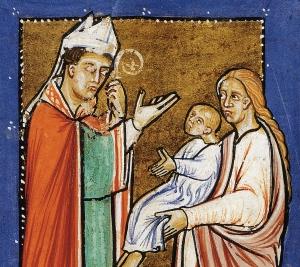 St. Cuthbert Healing a Baby