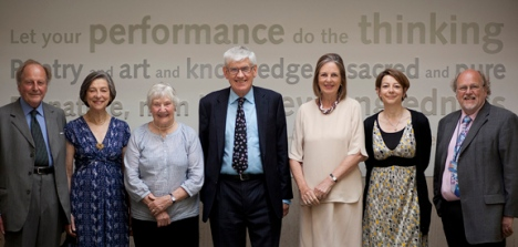 The group photo contains (l-r): Viscount and Viscountess Eccles, Baroness Williams, Professor Tony Badger, British Library Chairman Baroness Blackstone, Catherine Eccles and Professor Philip Davies (Director of the Eccles Centre)  © Alexander McIntyre